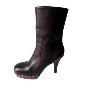 Miu Miu Brown Leather Platform Boots Size 9